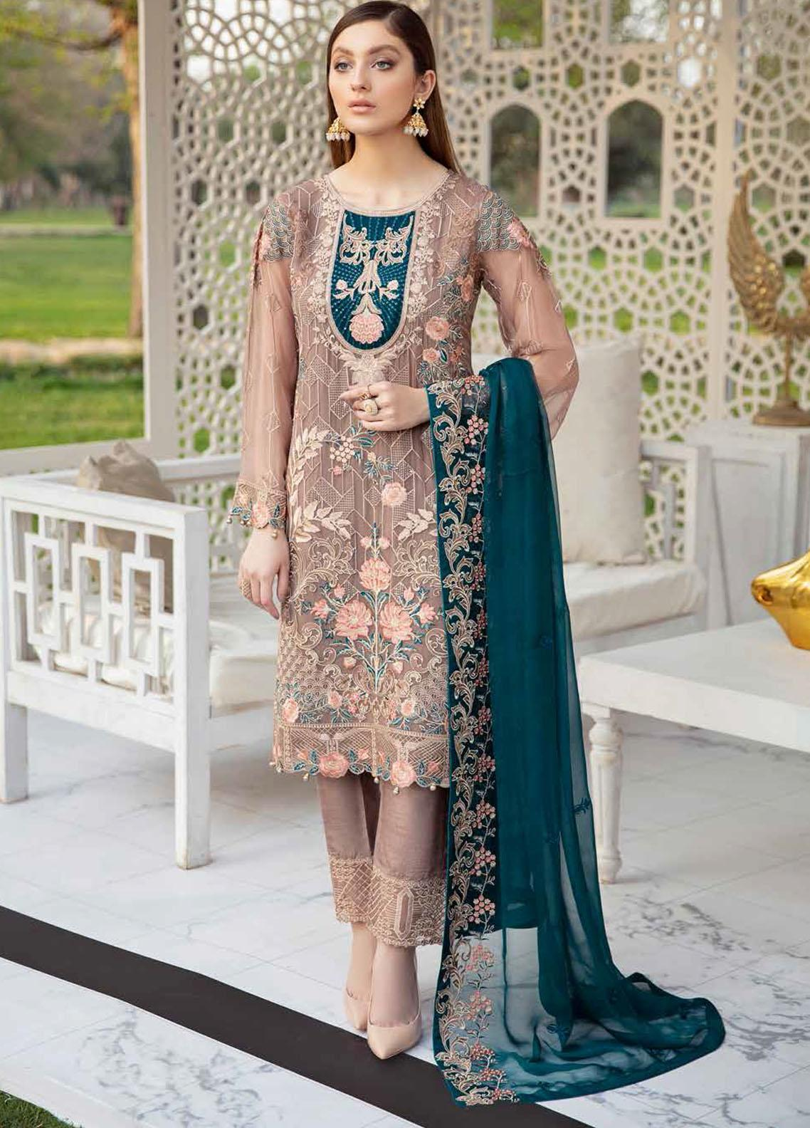 Ramsha Embroidered Chiffon Suits Unstitched 3 Piece RSH21-C20 2009 - Luxury Collection