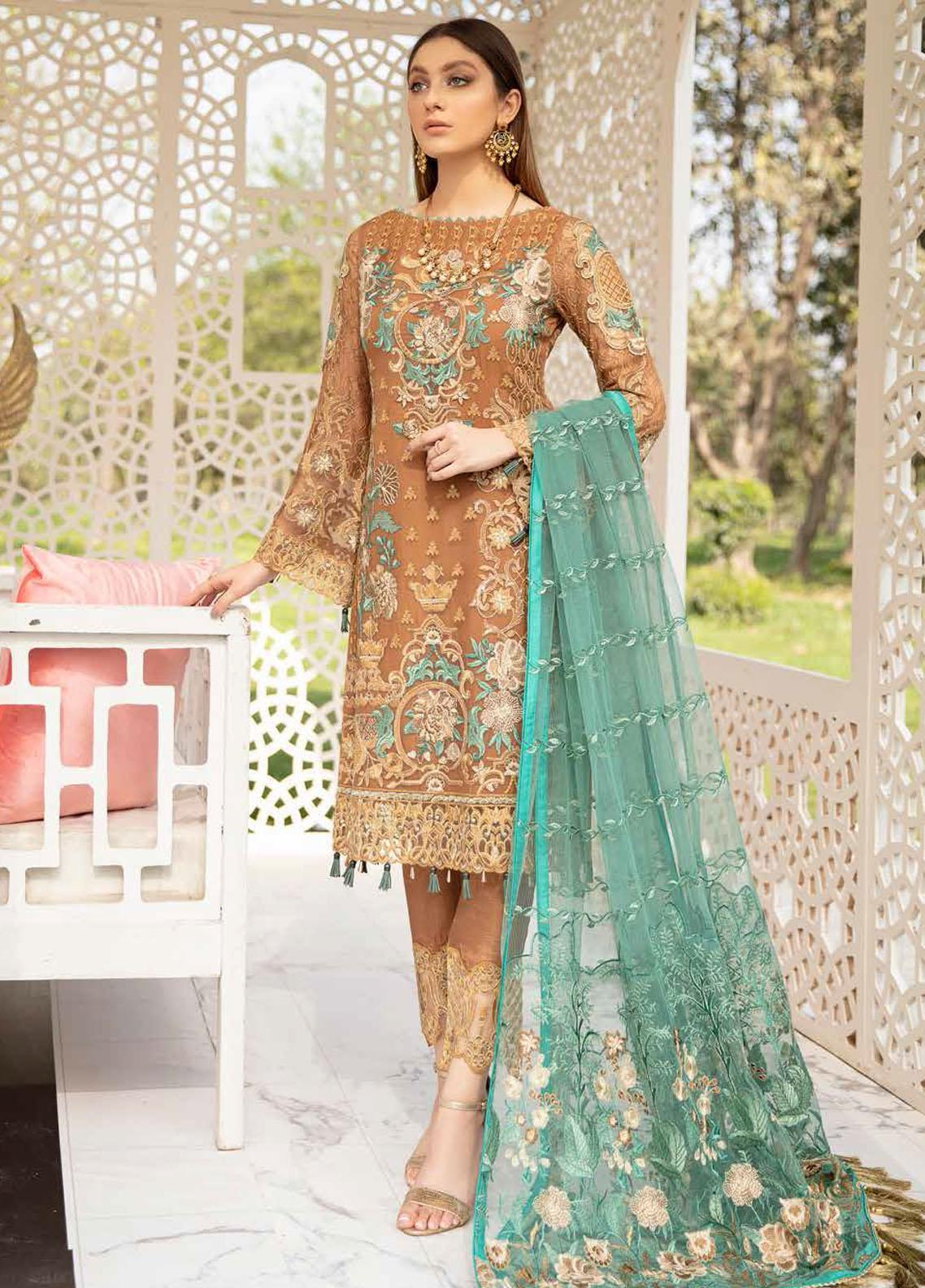 Ramsha Embroidered Chiffon Suits Unstitched 3 Piece RSH21-C20 2012 - Luxury Collection