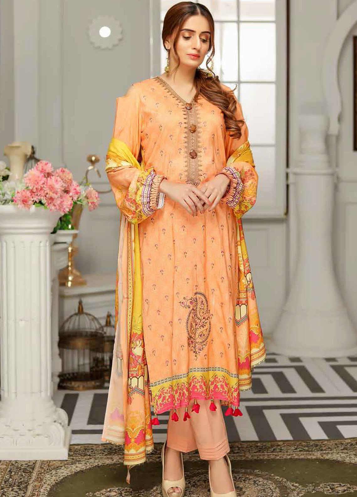 Rangoli by Sanam Saeed Embroidered Viscose Unstitched 3 Piece Suit RG20SV D-07 - Festive Collection