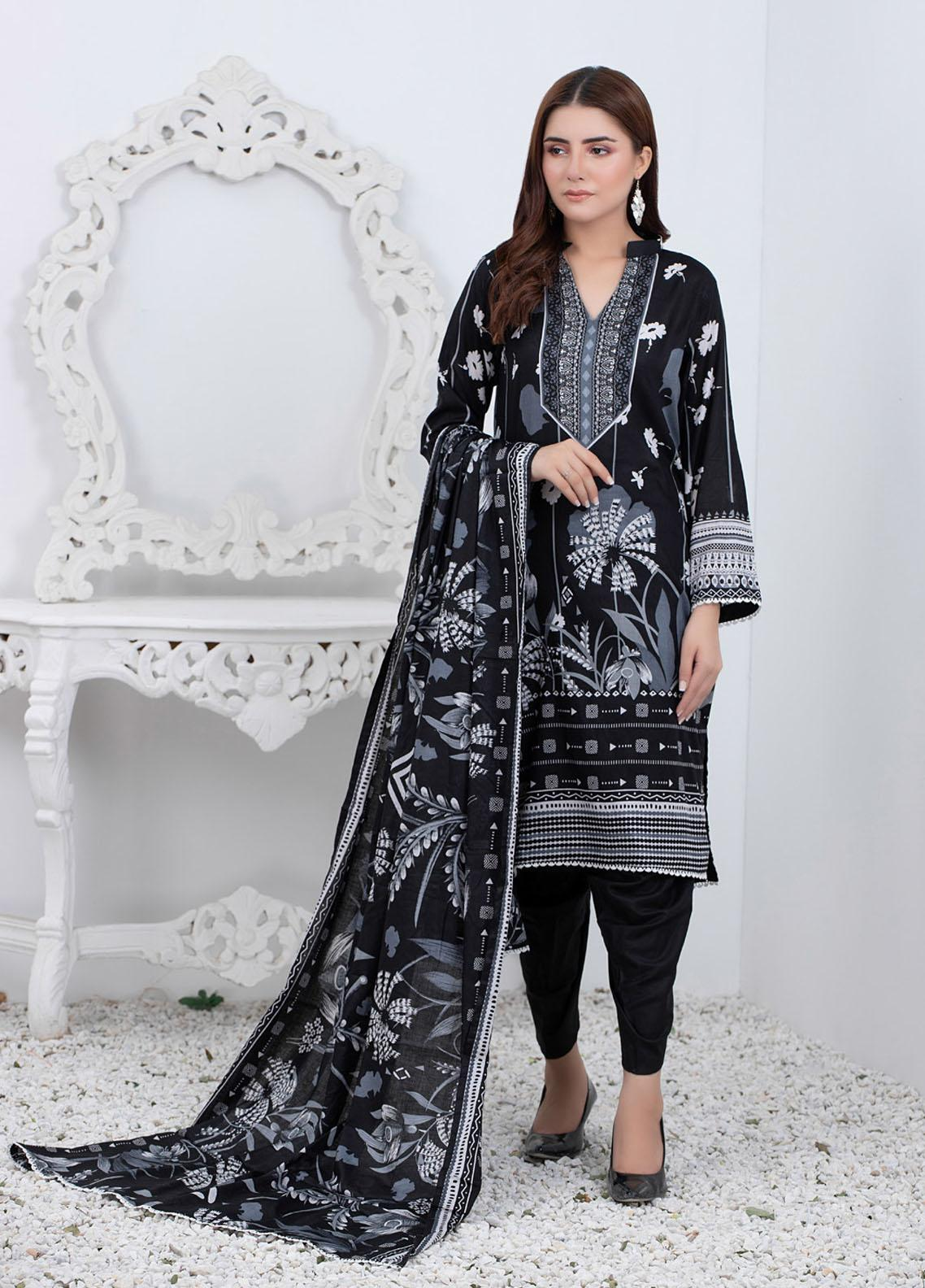 Rangreza By ZS Textiles Printed Lawn Suits Unstitched 3 Piece ZS21BW 03 - Black & White Collection