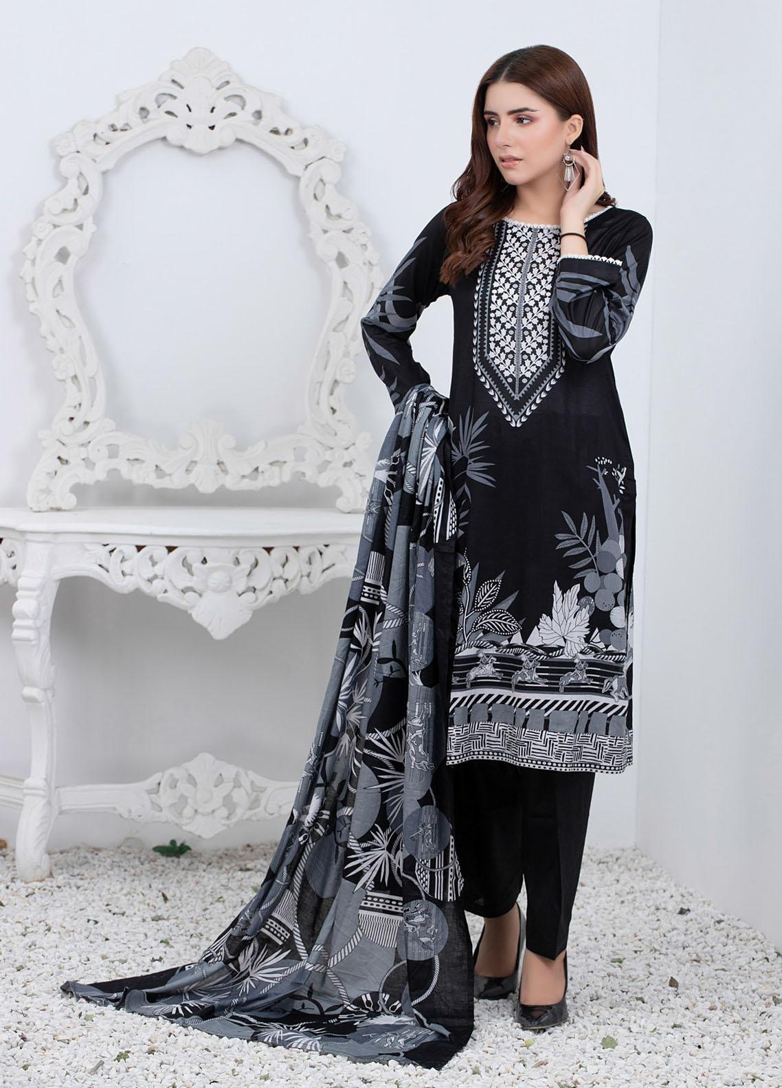 Rangreza By ZS Textiles Printed Lawn Suits Unstitched 3 Piece ZS21BW 05 - Black & White Collection