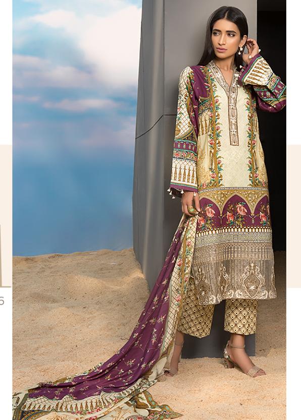 Sapphire Embroidered Khaddar Unstitched 3 Piece Suit SP17W Ravishing Dusk A