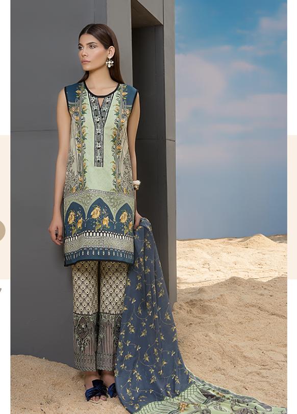 Sapphire Embroidered Khaddar Unstitched 3 Piece Suit SP17W Ravishing Dusk B