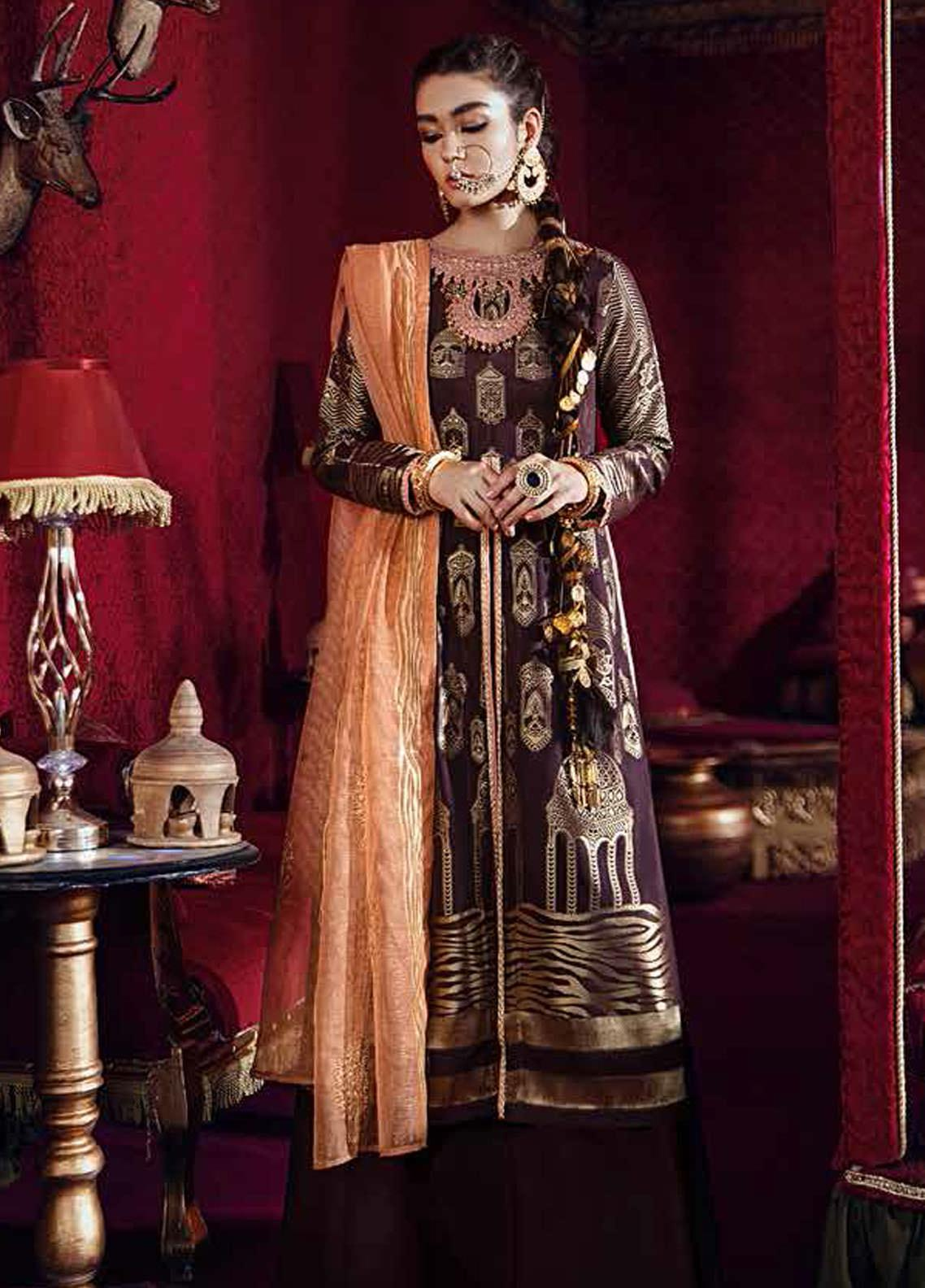 Razia Sultana by Cross Stitch Embroidered Jacquard Unstitched 3 Piece Suit CS20RS 18 MOHR E VIRAG-B - Eid Collection