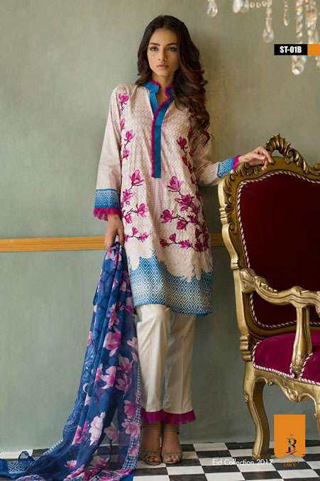 Rabea By Shariq Textiles Embroidered Lawn Unstitched 3 Piece Suit RB17E 1B