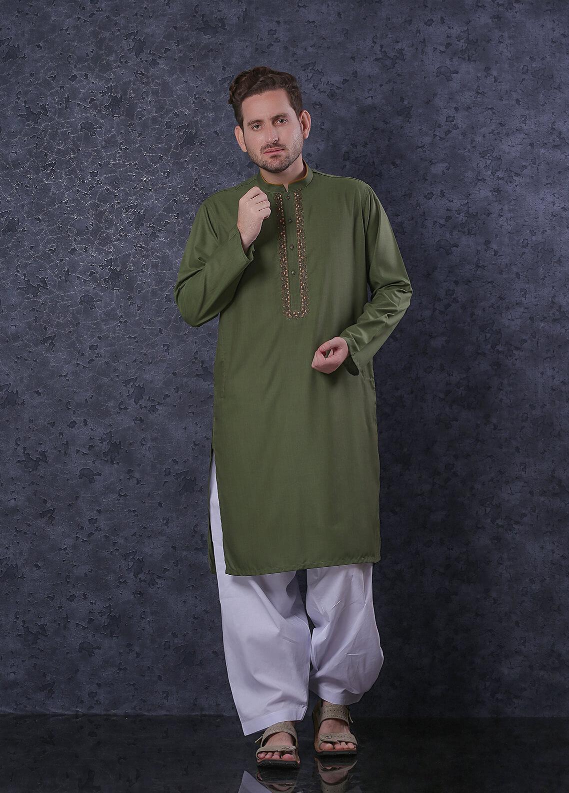 Real Image Mix Formal Kurta for Men -  D-323 Green
