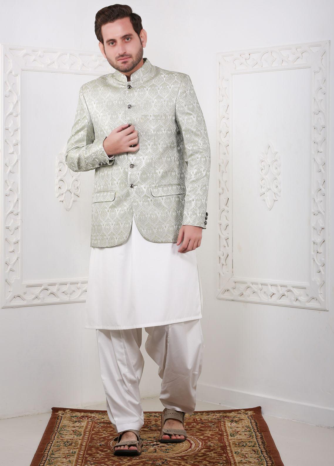 Real Image Jamawar Fancy Men Prince Coats -  RI20PC C2 Green