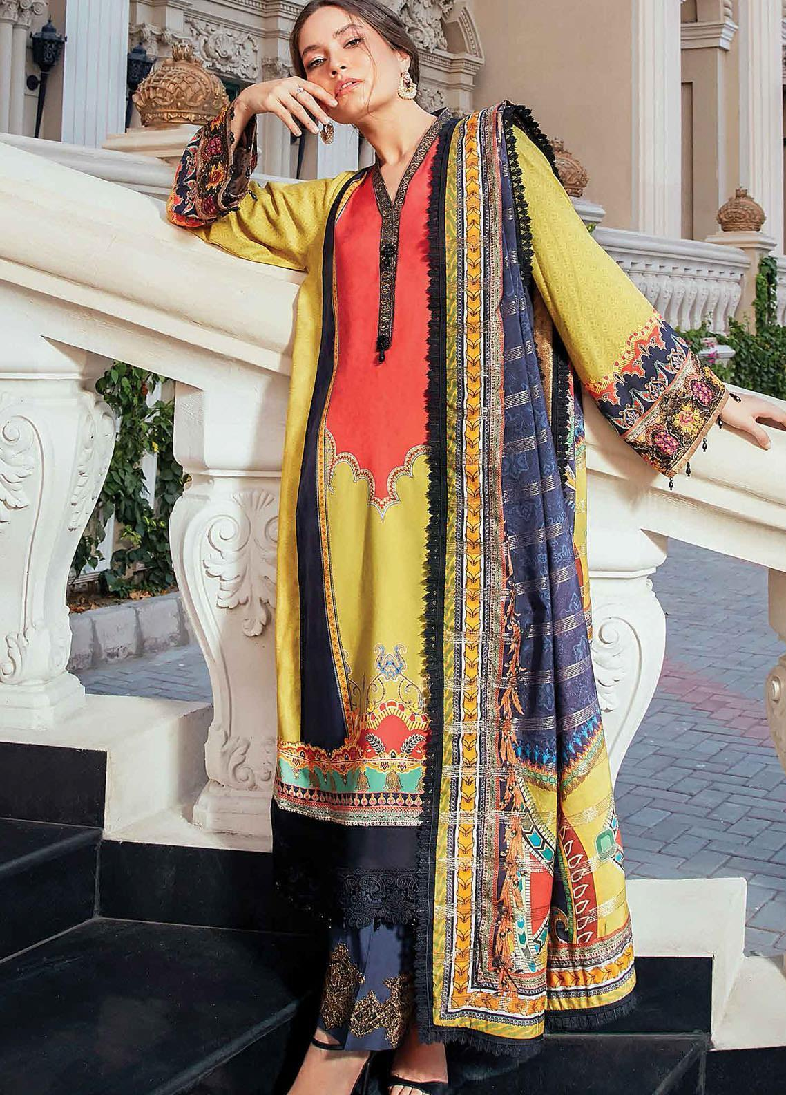 Regal Fantasy by Raaya Embroidered Cottel Linen Unstitched 3 Piece Suit RR20RF Visage - Winter Collection