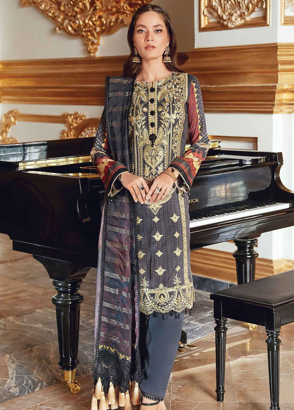 Regal Fantasy by Raaya Embroidered Cottel Linen Unstitched 3 Piece Suit RR20RF Venician - Winter Collection