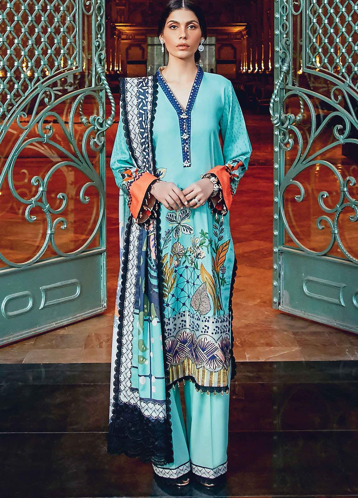 Regal Fantasy by Raaya Embroidered Cottel Linen Unstitched 3 Piece Suit RR20RF Delacoir - Winter Collection