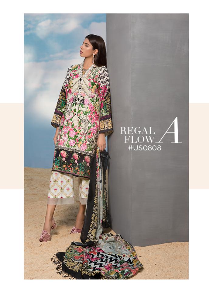 Sapphire Embroidered Khaddar Unstitched 3 Piece Suit SP17W Regal Flow A