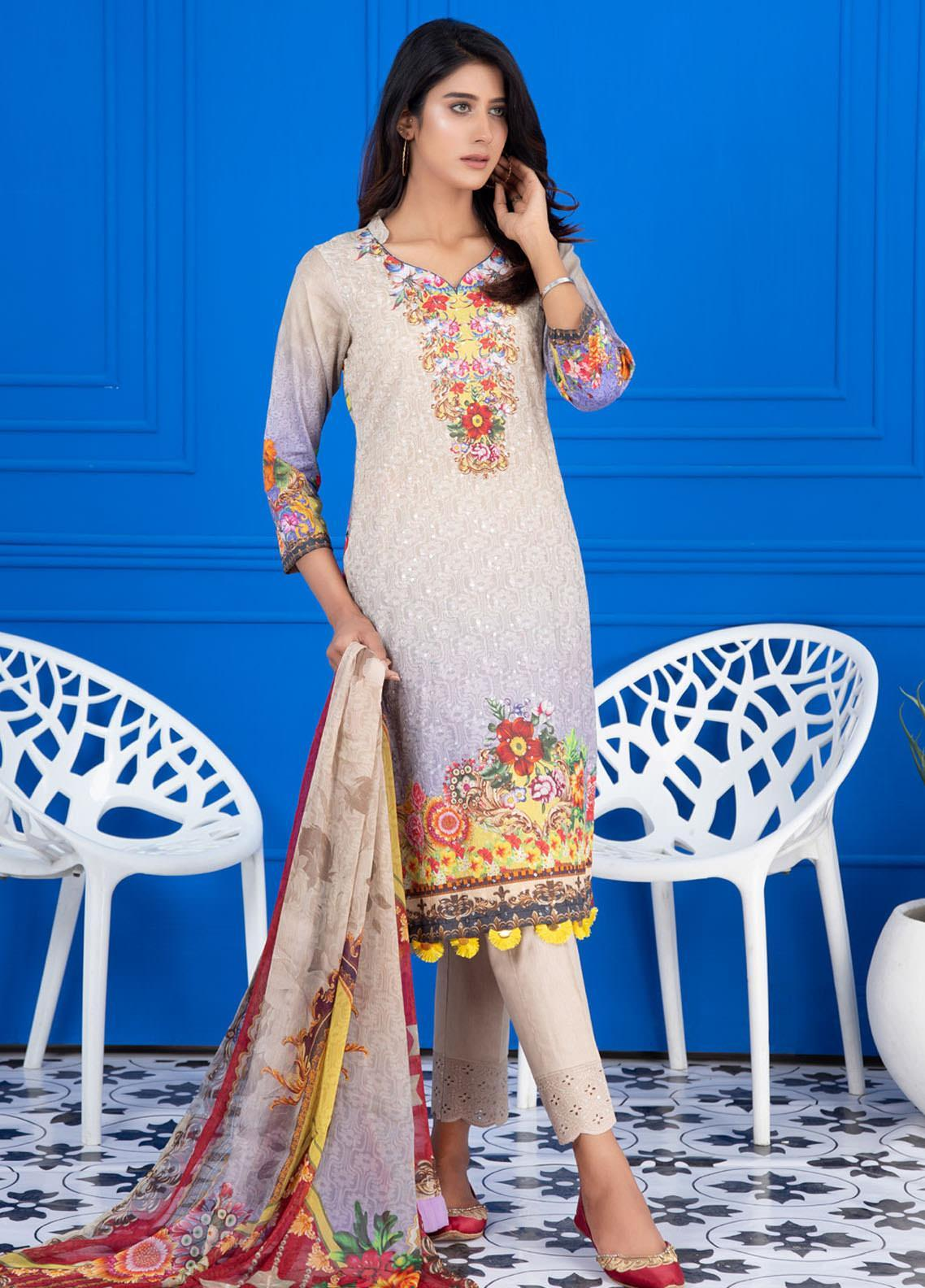 Regalia Textiles Embroidered Lawn Suits Unstitched 3 Piece RG21FE D-10 - Summer Collection