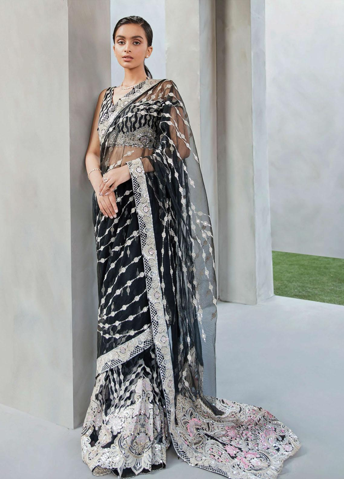 Amour & Bonheur by Reign Embroidered Net Unstitched Saree RGN21AB 08 Ramona - Luxury Festive Collection