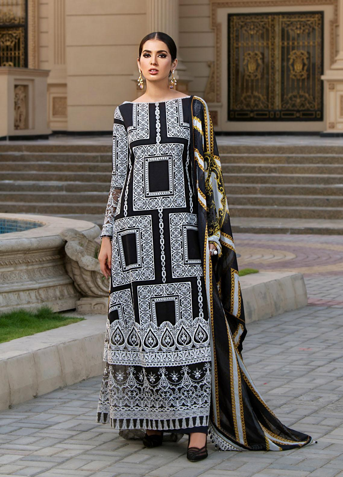 Reign Embroidered Lawn Suits Unstitched 3 Piece RGN21RG AALIYAH - Summer Collection