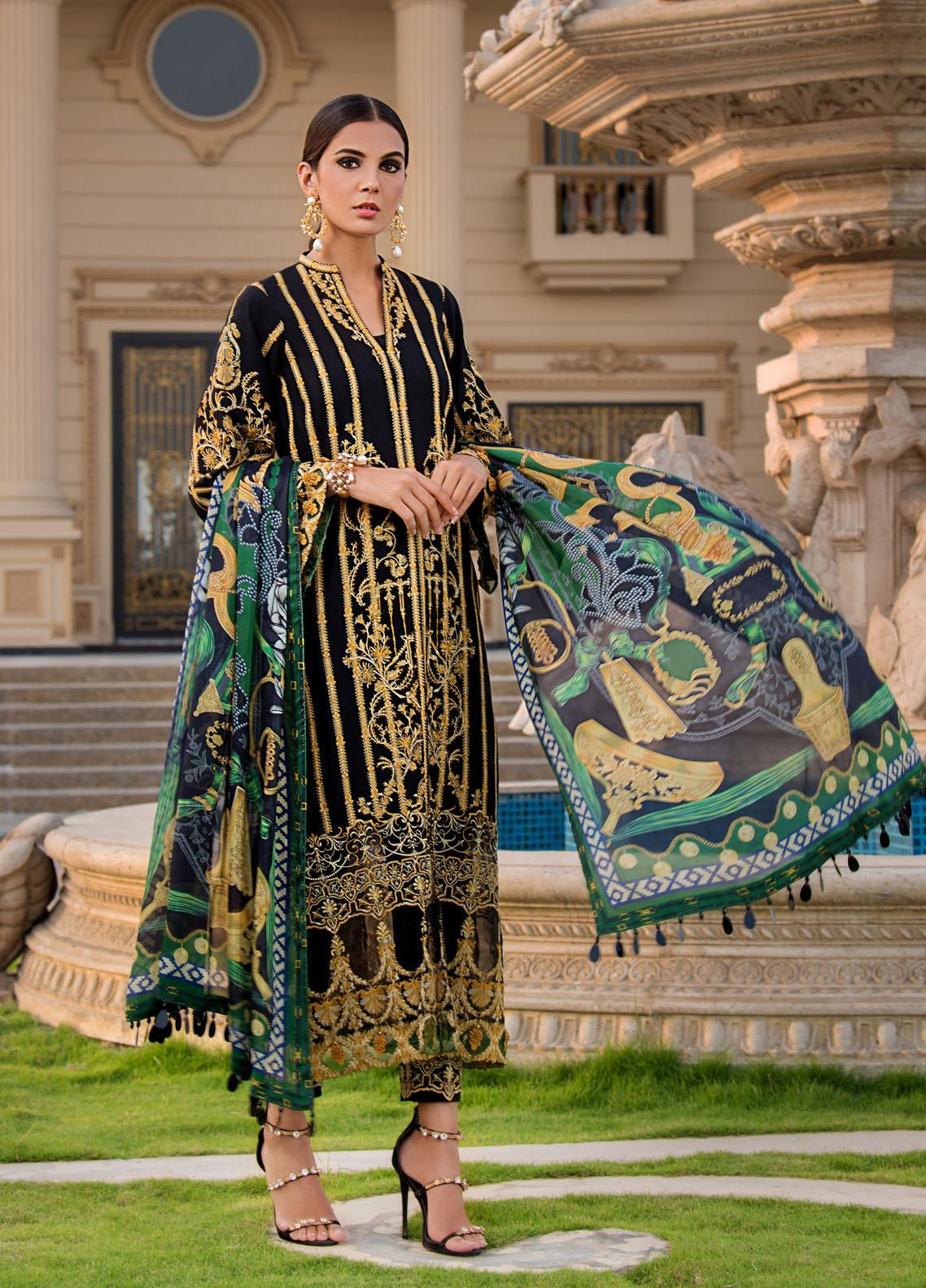 Reign Embroidered Lawn Suits Unstitched 3 Piece RGN21RG DION - Summer Collection