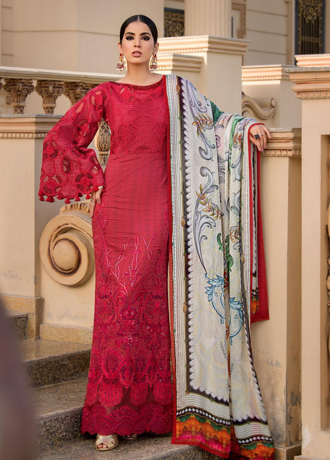 Reign Embroidered Lawn Suits Unstitched 3 Piece RGN21RG GARNET - Summer Collection