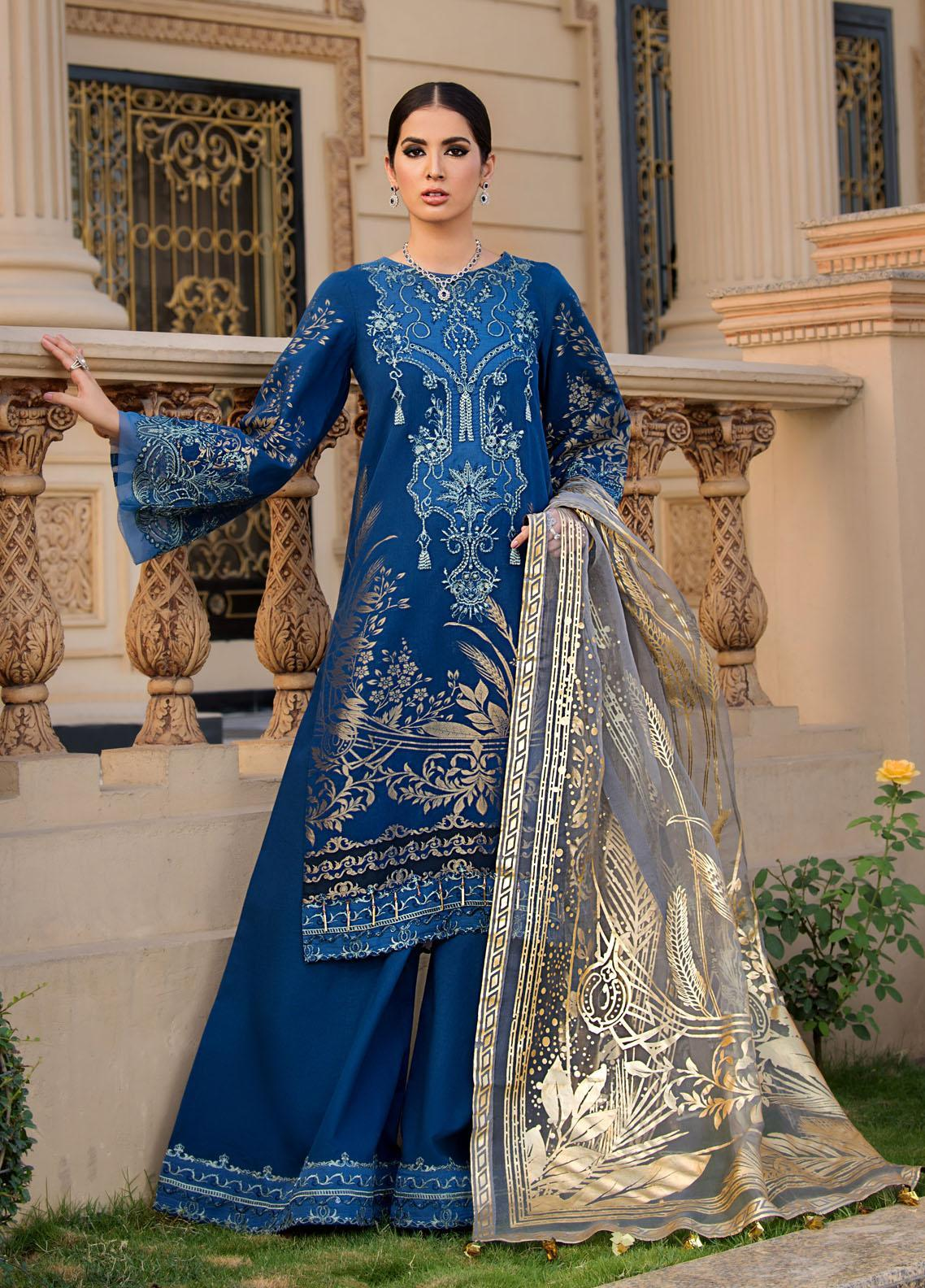 Reign Embroidered Lawn Suits Unstitched 3 Piece RGN21RG IRIS - Summer Collection