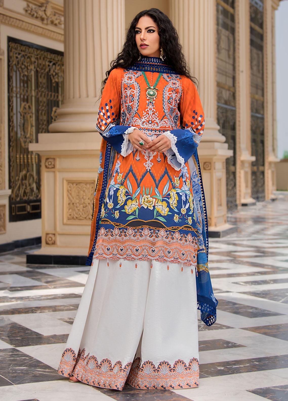 Reign Embroidered Lawn Suits Unstitched 3 Piece RGN21RG JAY - Summer Collection