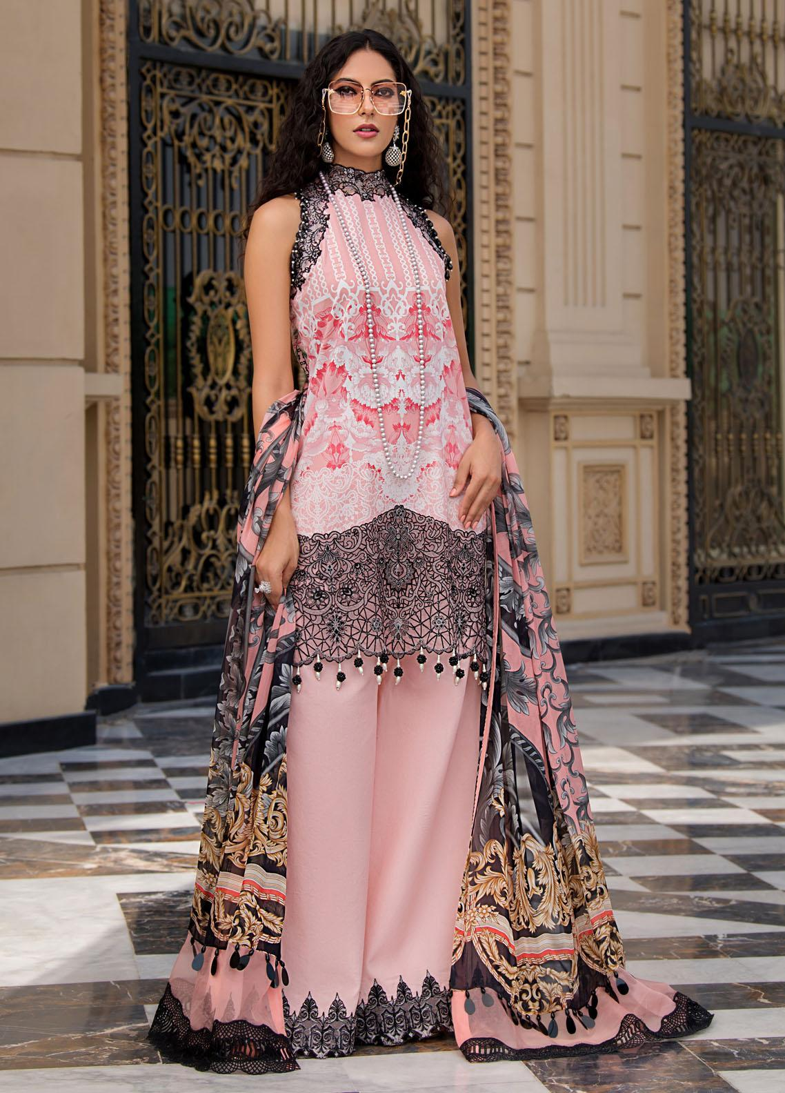 Reign Embroidered Lawn Suits Unstitched 3 Piece RGN21RG ROSE - Summer Collection