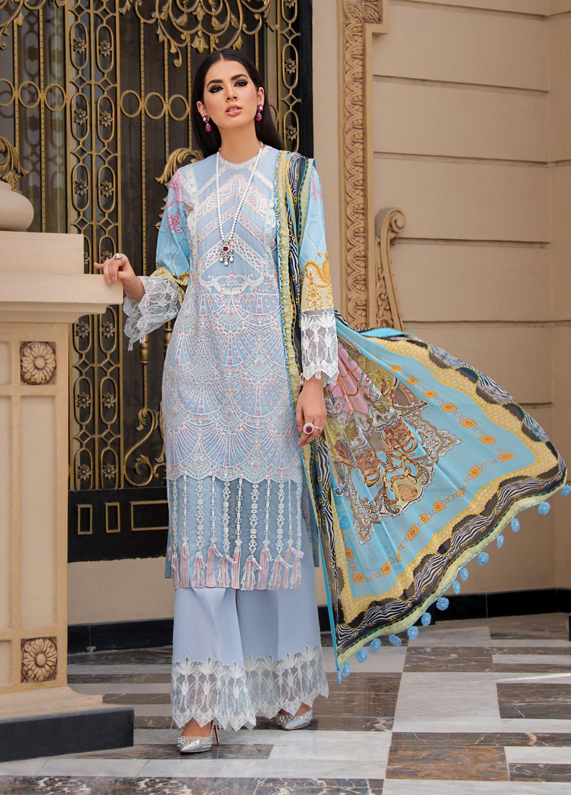 Reign Embroidered Lawn Suits Unstitched 3 Piece RGN21RG TALIA - Summer Collection