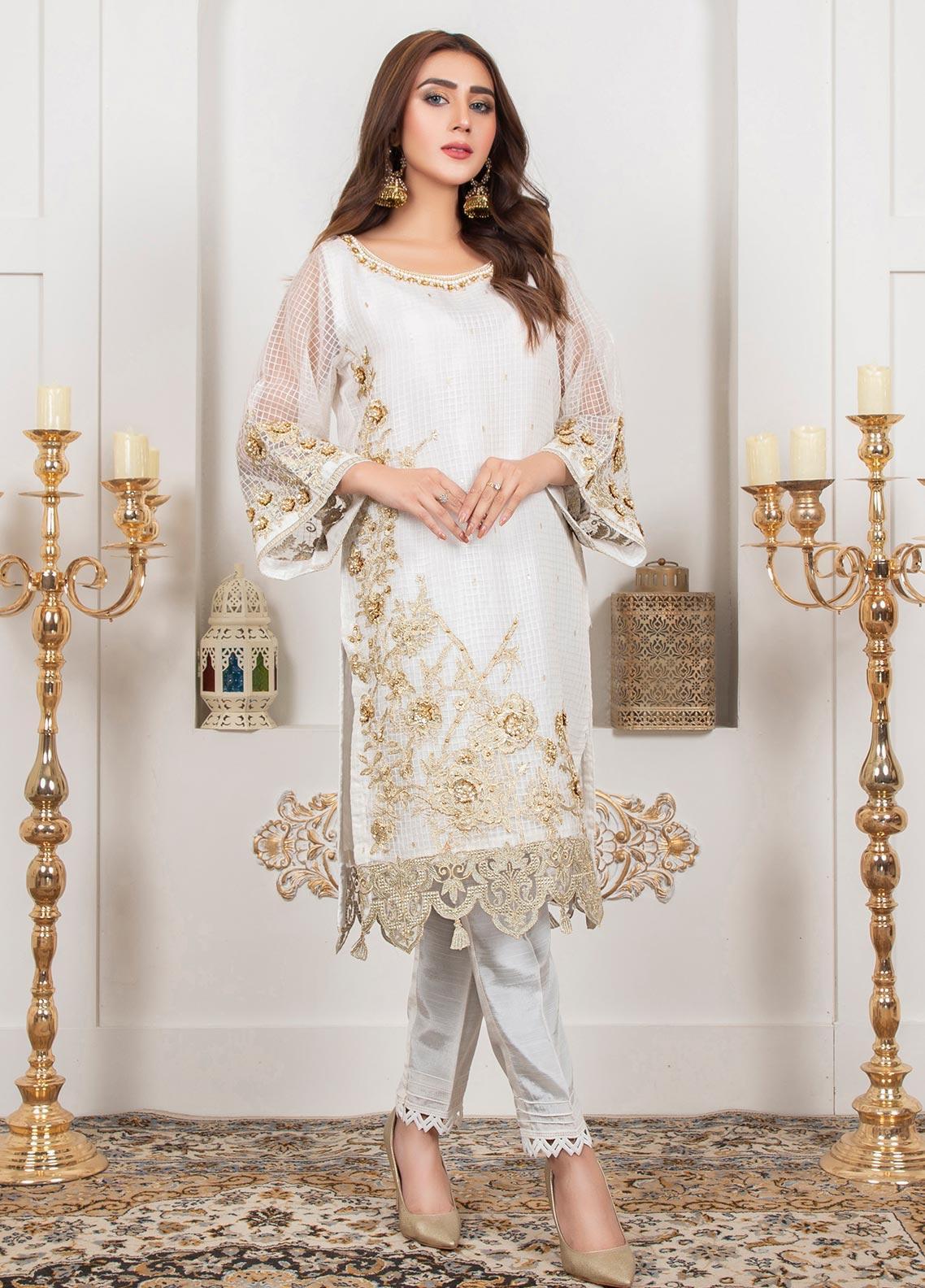 Lush Embroidered Organza Stitched Shirt 08 Chantilly Lace