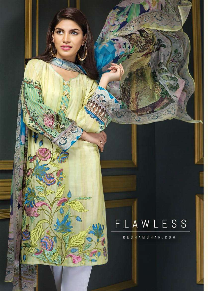 Resham Ghar Embroidered Lawn Unstitched 3 Piece Suit RG17E2 09