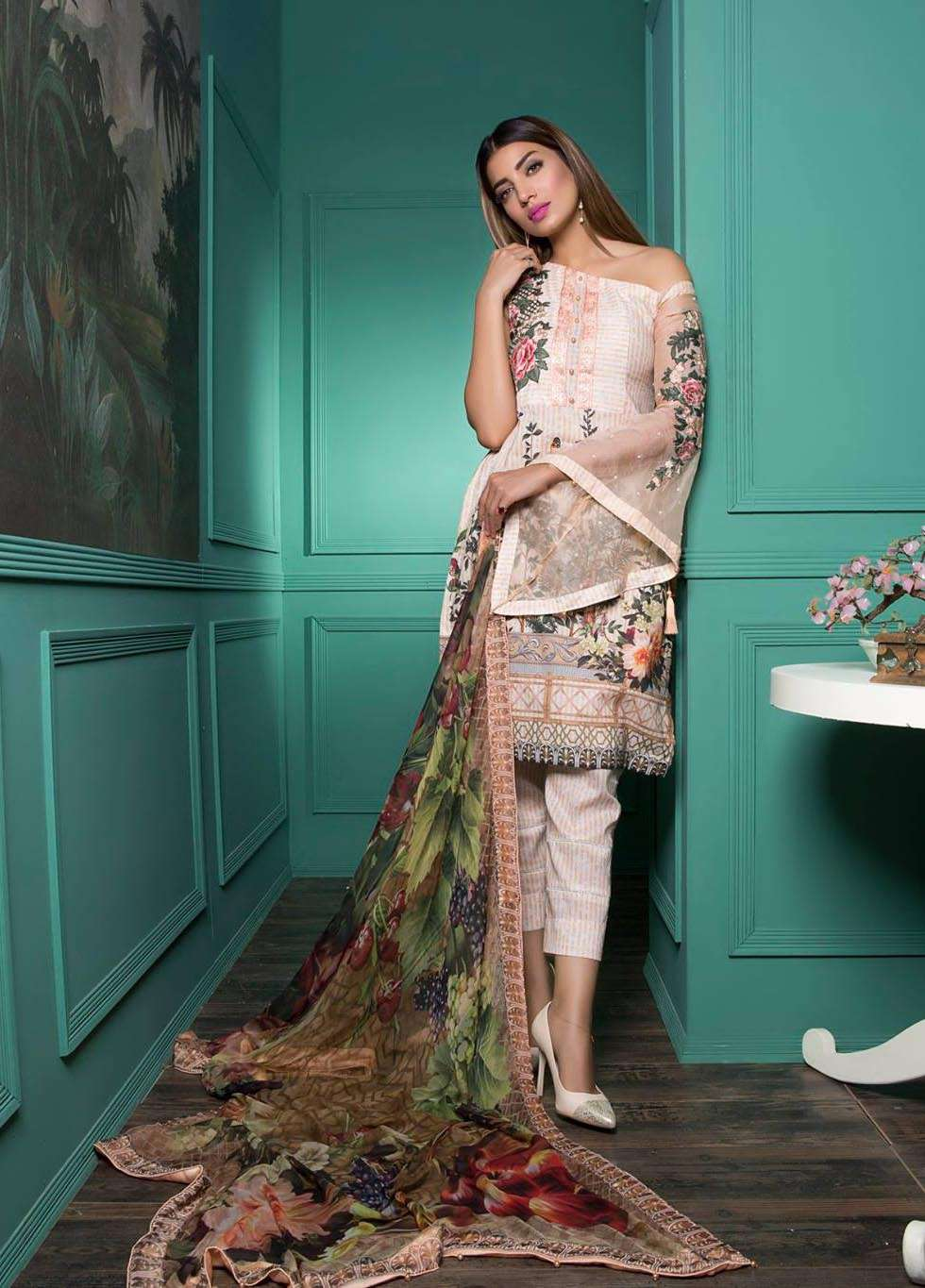 Rang Rasiya Embroidered Lawn Unstitched 3 Piece Suit RGR17E3 Gerry Rose B