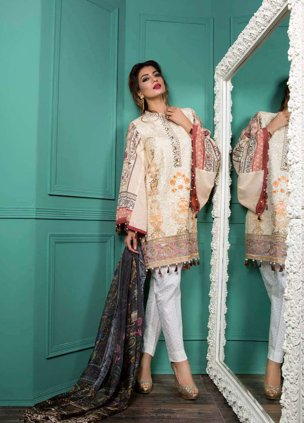 Rang Rasiya Embroidered Lawn Unstitched 3 Piece Suit RGR17E3 Miniature Mughal B