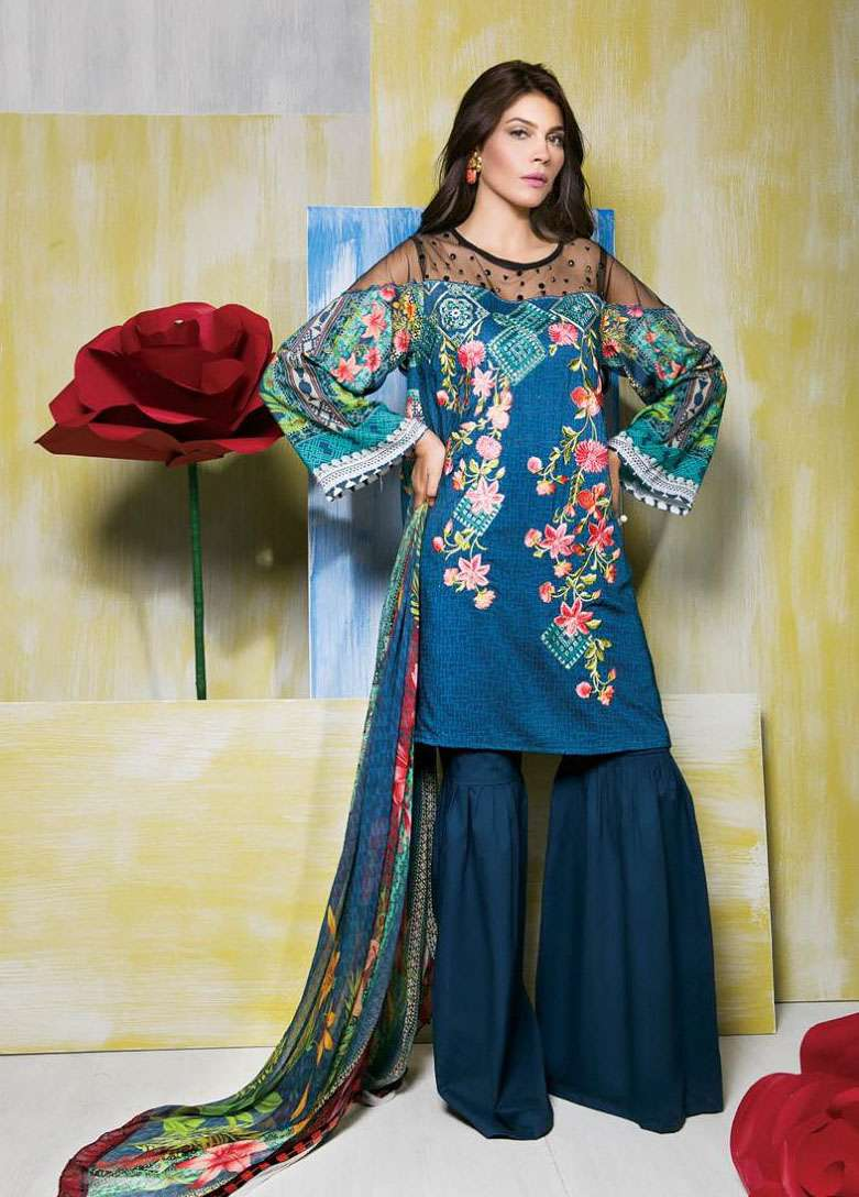 Rang Rasiya Embroidered Linen Unstitched 3 Piece Suit RGR17W 501B