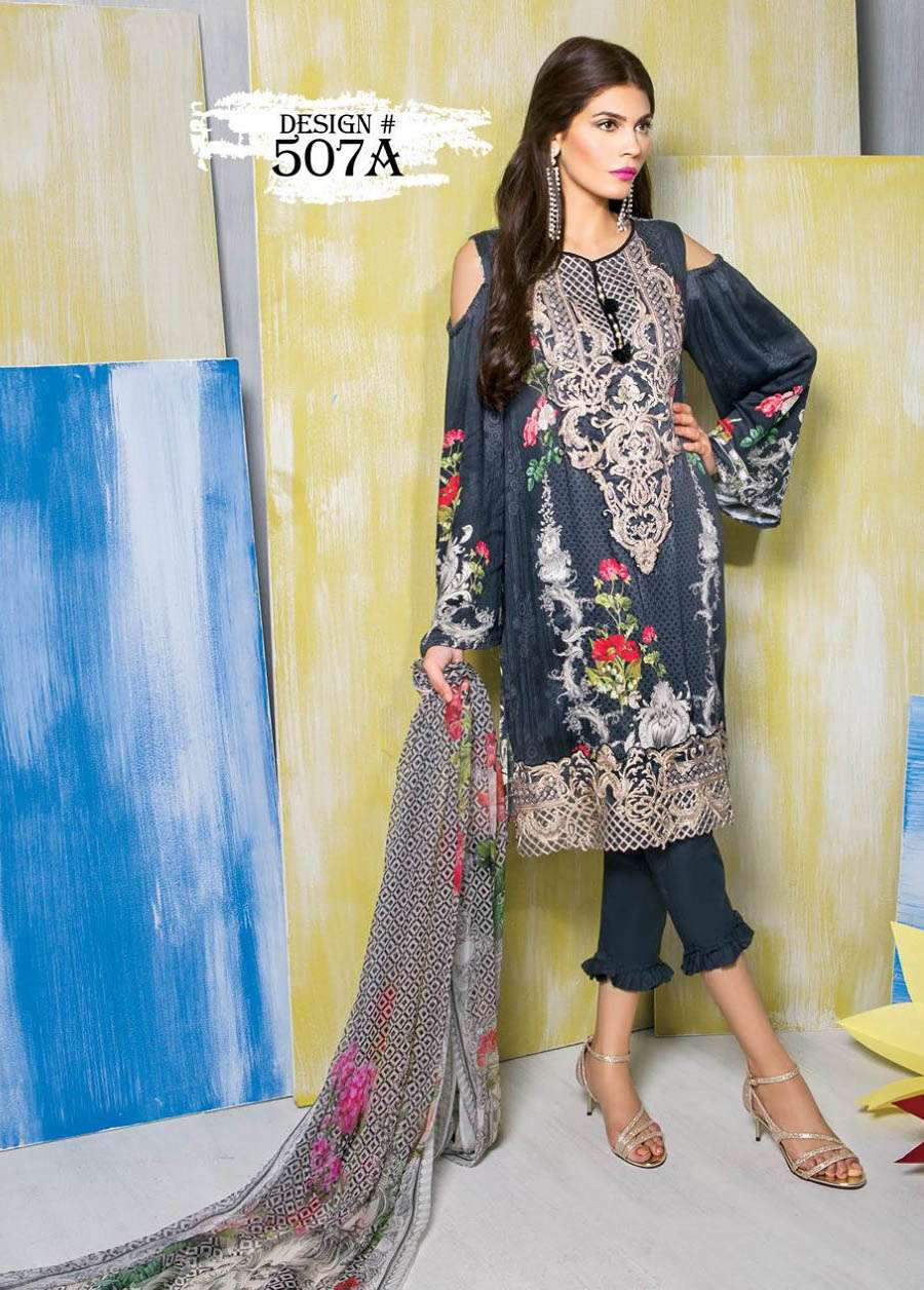 Rang Rasiya Embroidered Linen Unstitched 3 Piece Suit RGR17W 507A