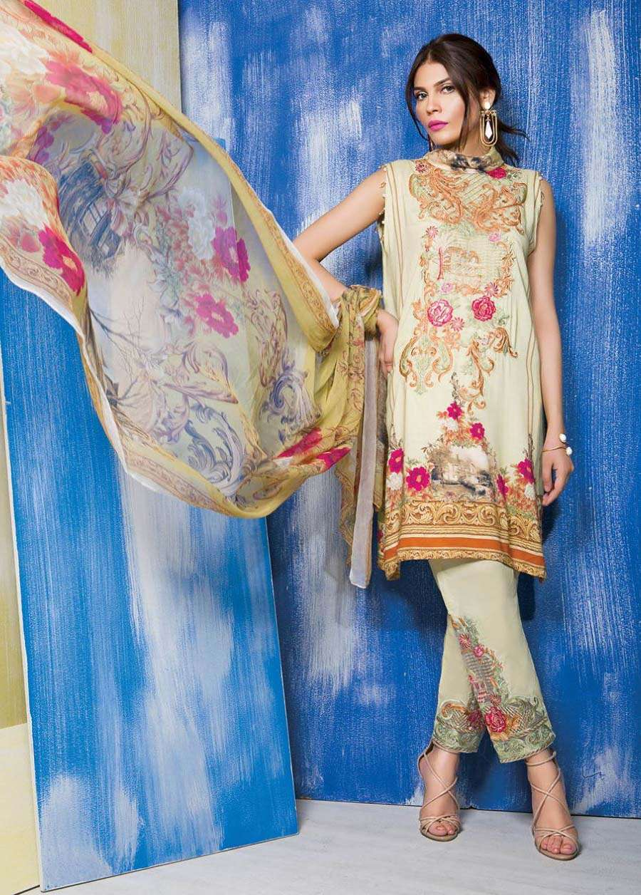 Rang Rasiya Embroidered Linen Unstitched 3 Piece Suit RGR17W 508A