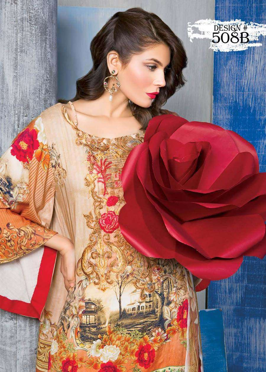 Rang Rasiya Embroidered Linen Unstitched 3 Piece Suit RGR17W 508B