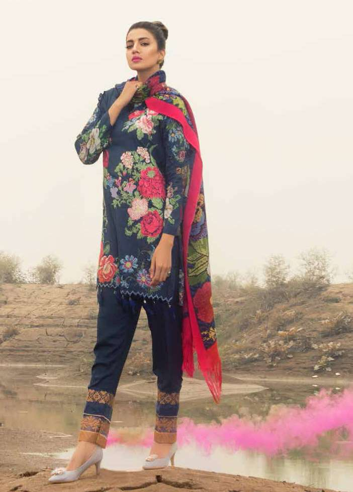 Rang Rasiya Embroidered Linen Unstitched 3 Piece Suit RGR17W2 601B