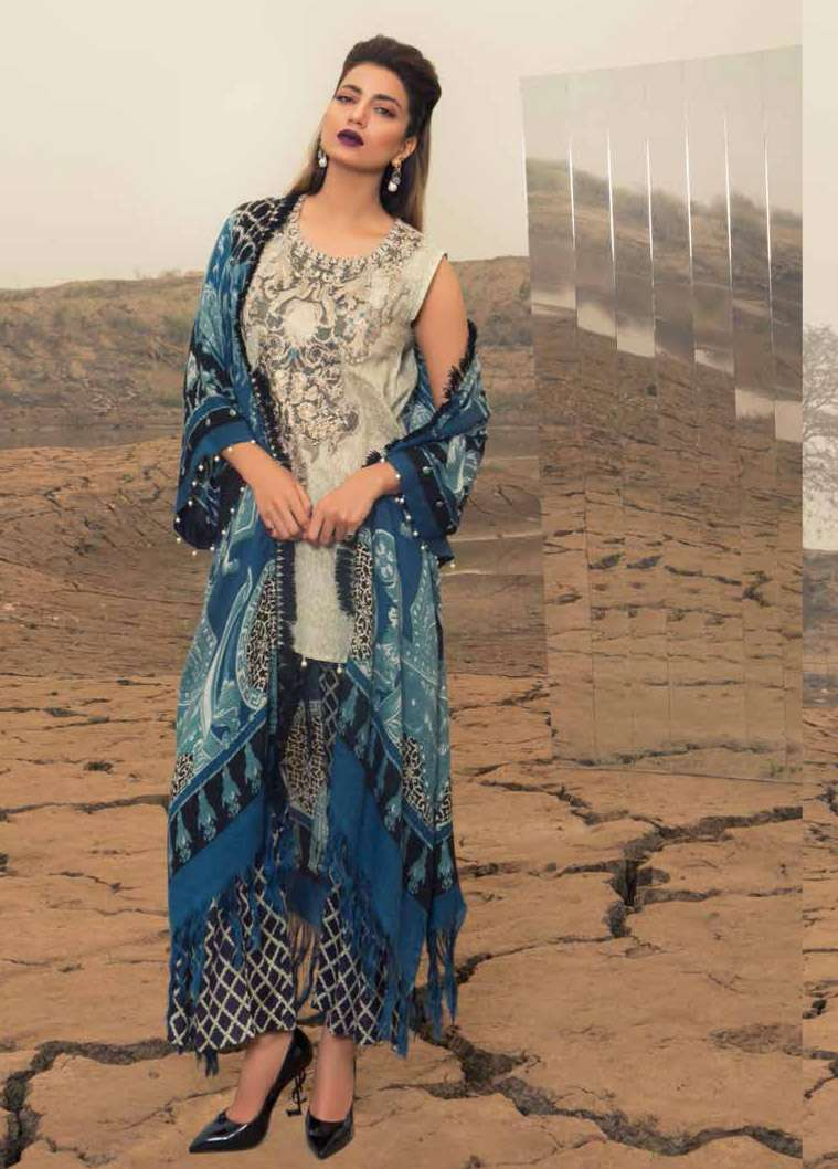 Rang Rasiya Embroidered Linen Unstitched 3 Piece Suit RGR17W2 609A
