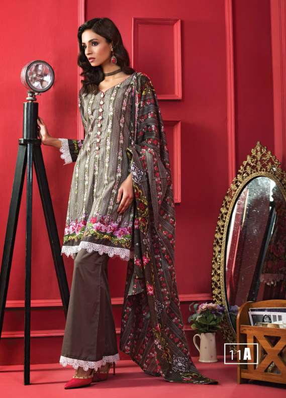 ZS Textile Printed Cotton Unstitched 3 Piece Suit RI17L 11A