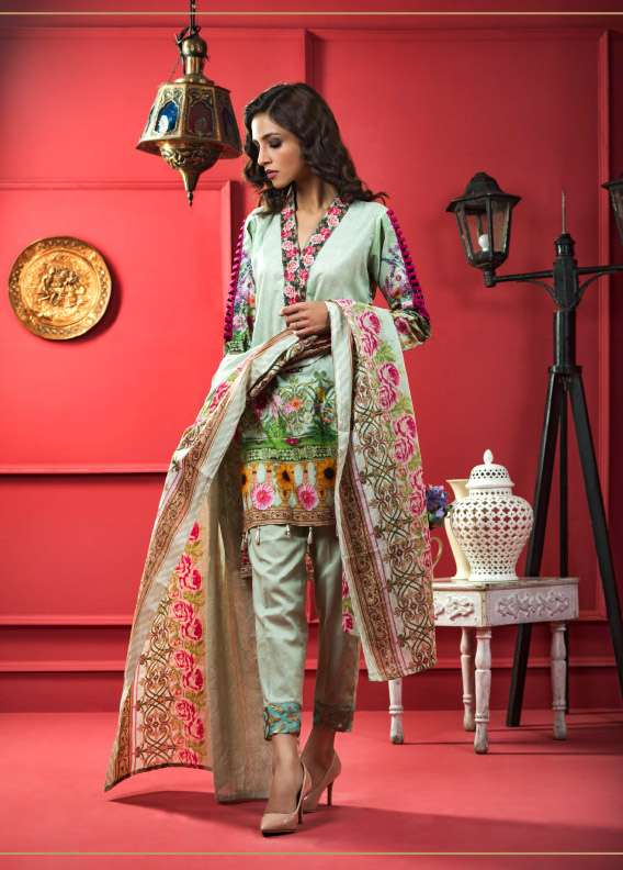 ZS Textile Printed Cotton Unstitched 3 Piece Suit RI17L 1A