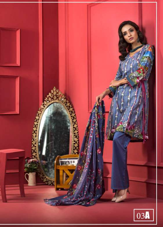 ZS Textile Printed Cotton Unstitched 3 Piece Suit RI17L 3A