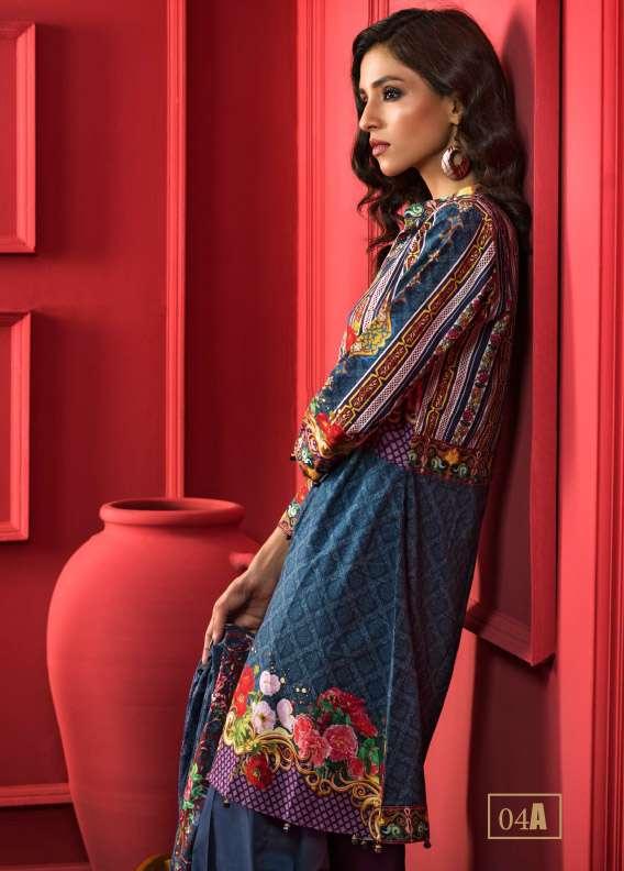 ZS Textile Printed Cotton Unstitched 3 Piece Suit RI17L 4A