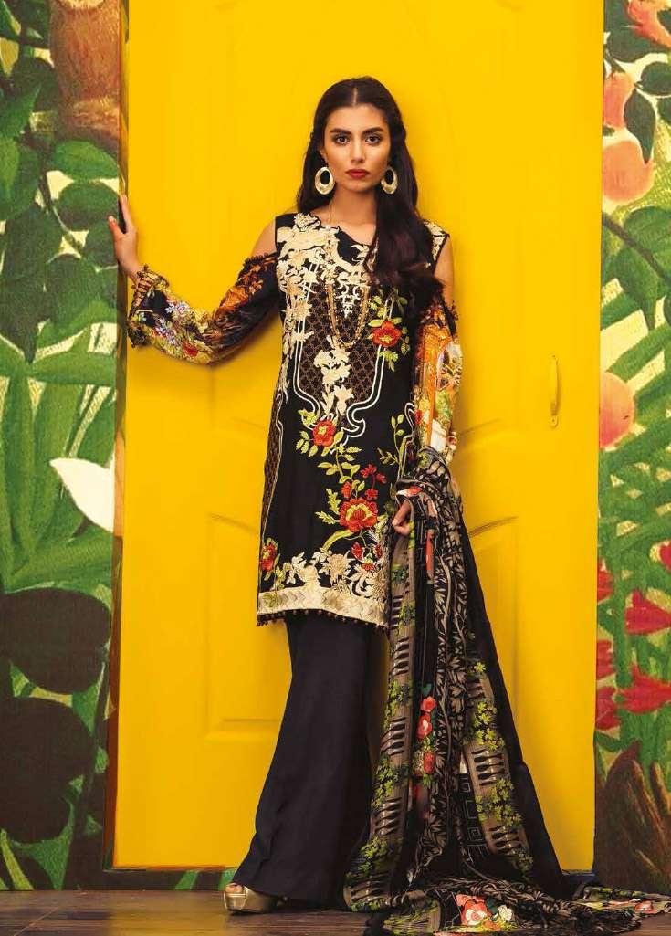 RajBari Embroidered Linen Unstitched 3 Piece Suit RJ17W 1A