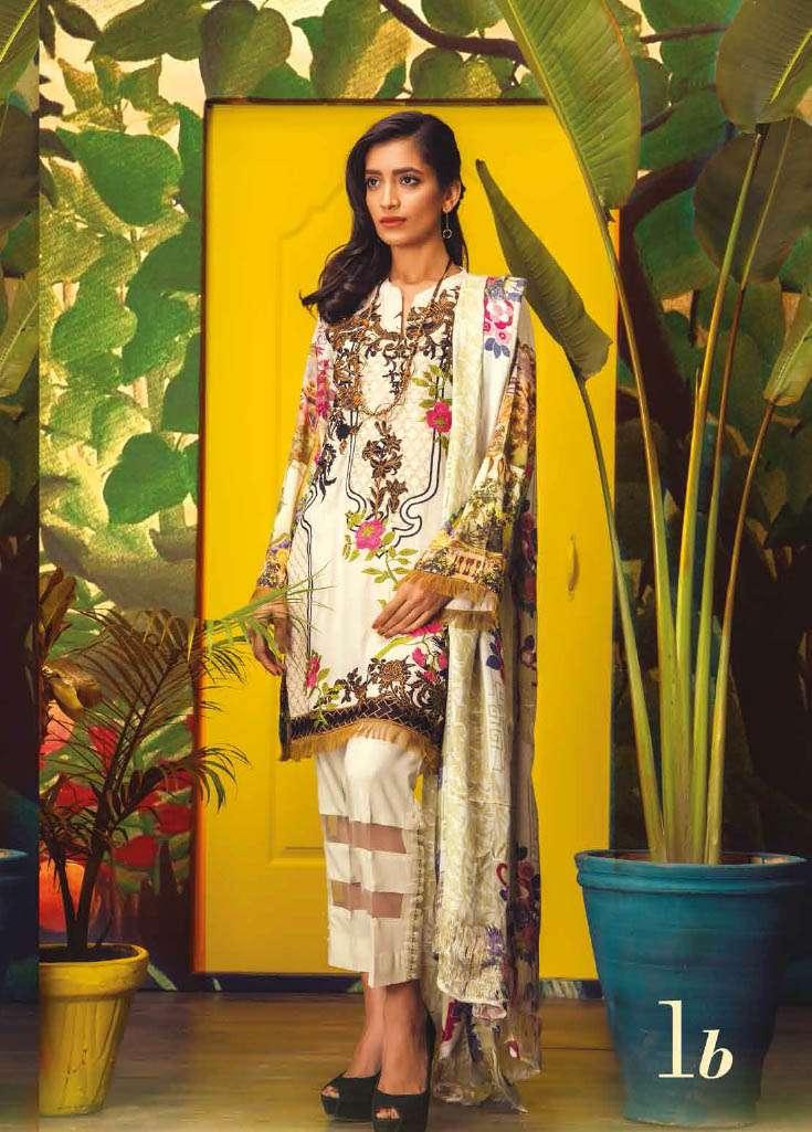 RajBari Embroidered Linen Unstitched 3 Piece Suit RJ17W 1B