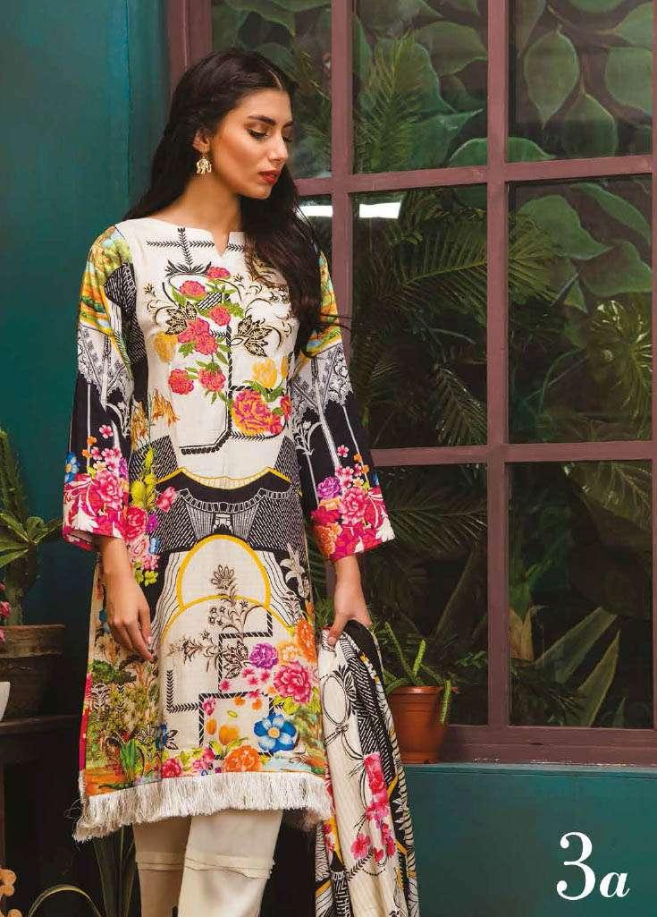 RajBari Embroidered Linen Unstitched 3 Piece Suit RJ17W 3A