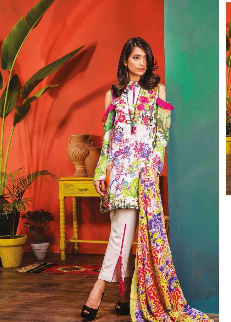 RajBari Embroidered Linen Unstitched 3 Piece Suit RJ17W 6B