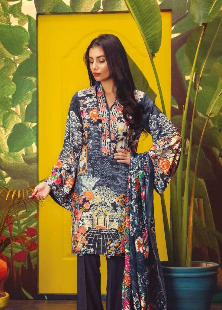 RajBari Embroidered Linen Unstitched 3 Piece Suit RJ17W 8A