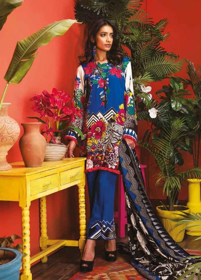 RajBari Embroidered Linen Unstitched 3 Piece Suit RJ17W 9A