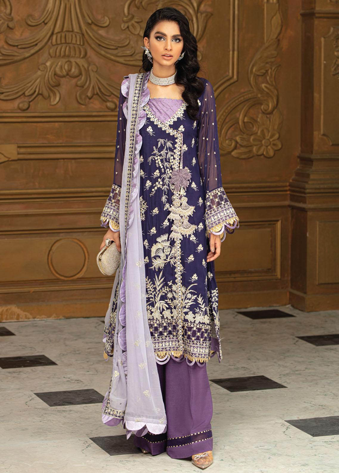 Roheenaz Embroidered Chiffon Suits Unstitched 3 Piece RO21C 01 - Luxury Collection