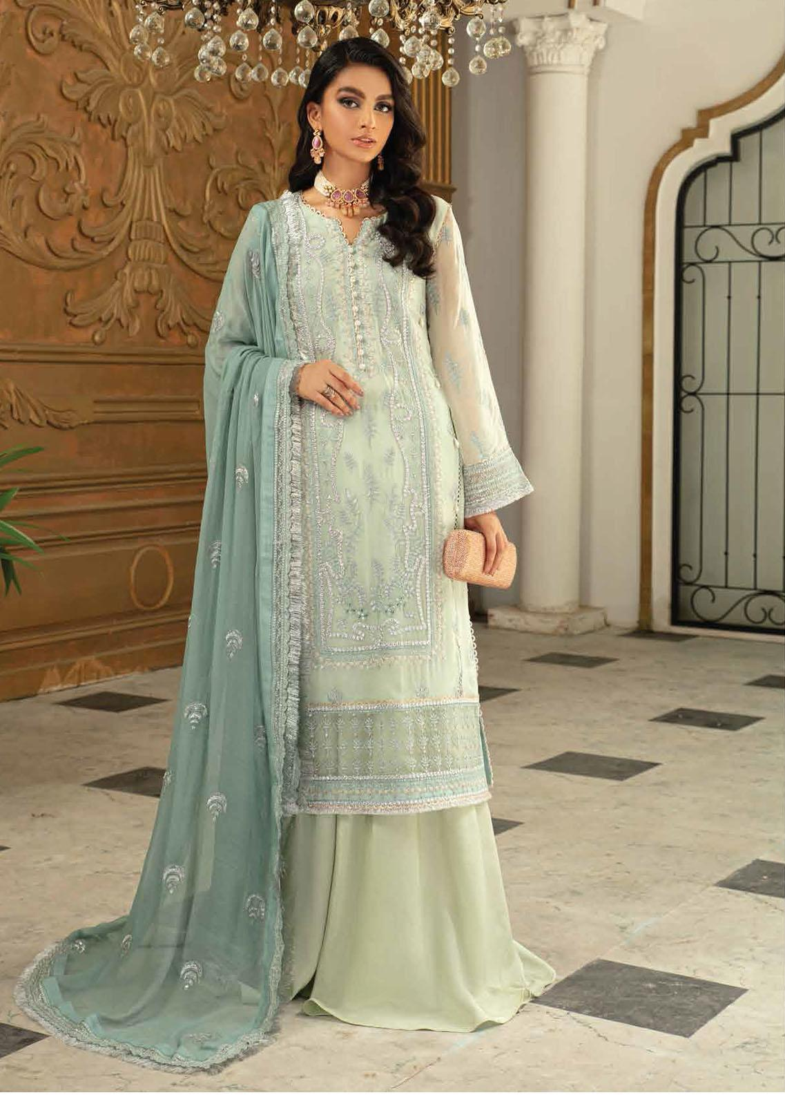 Roheenaz Embroidered Chiffon Suits Unstitched 3 Piece RO21C 02 - Luxury Collection