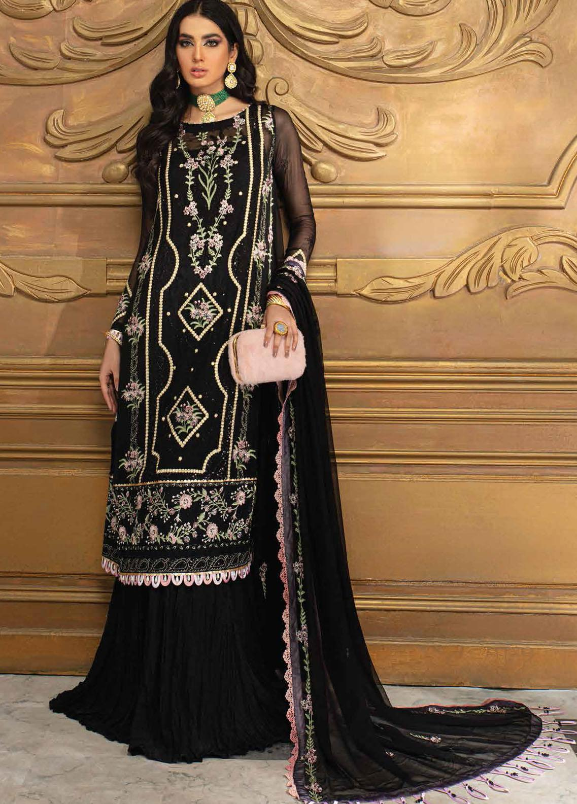 Roheenaz Embroidered Chiffon Suits Unstitched 3 Piece RO21C 07 - Luxury Collection