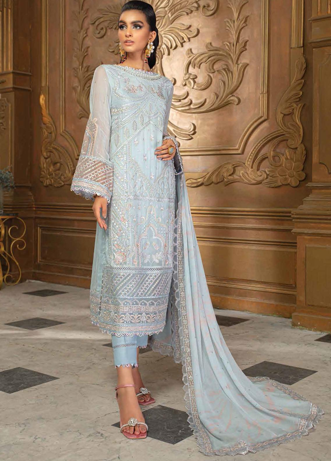 Roheenaz Embroidered Chiffon Suits Unstitched 3 Piece RO21C 09 - Luxury Collection