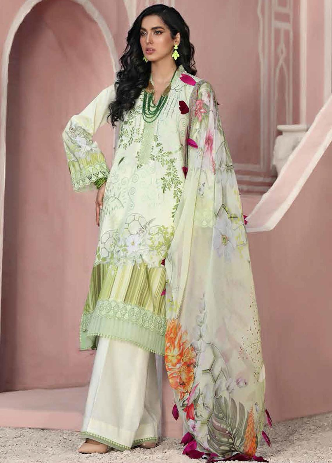 Roheenaz Embroidered Lawn Suits Unstitched 3 Piece RO21S 2B - Summer Collection