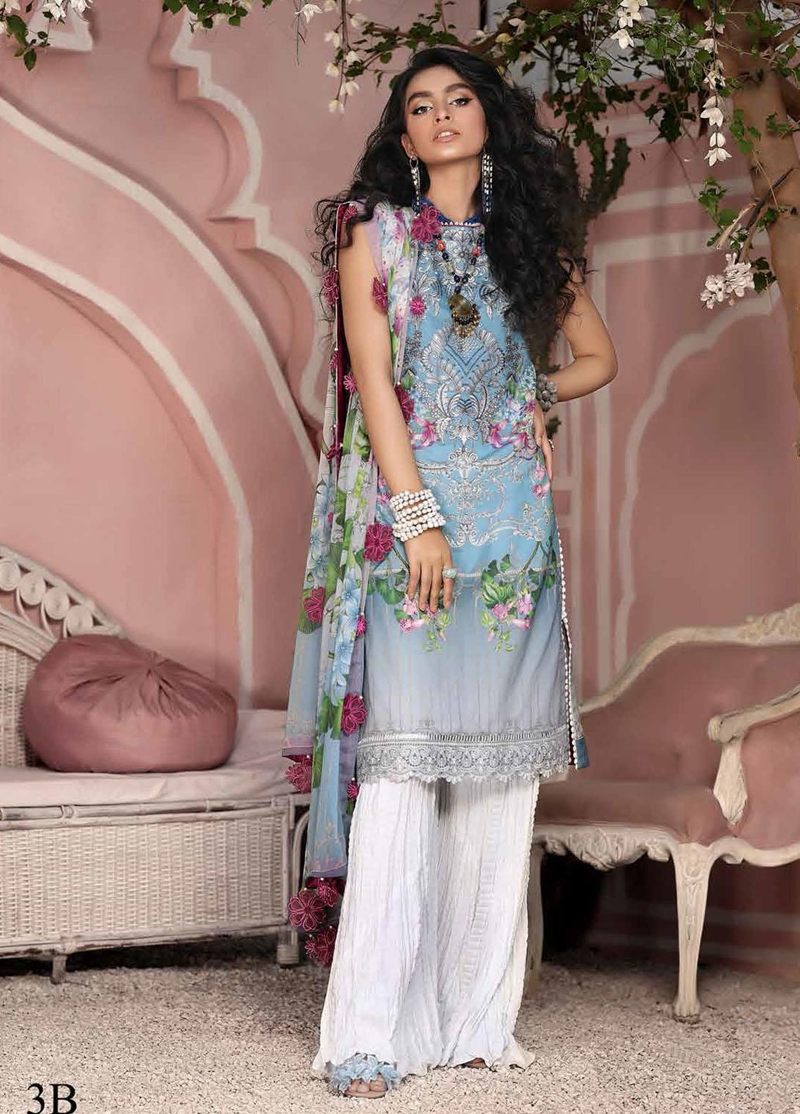 Roheenaz Embroidered Lawn Suits Unstitched 3 Piece RO21S 3B - Summer Collection